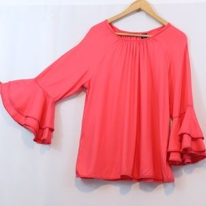Life Style Pink Bell Sleeve Eyelet Embroidered Top